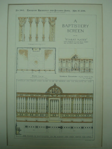 Baptistery Screen Design , 1896, Stabat Mater