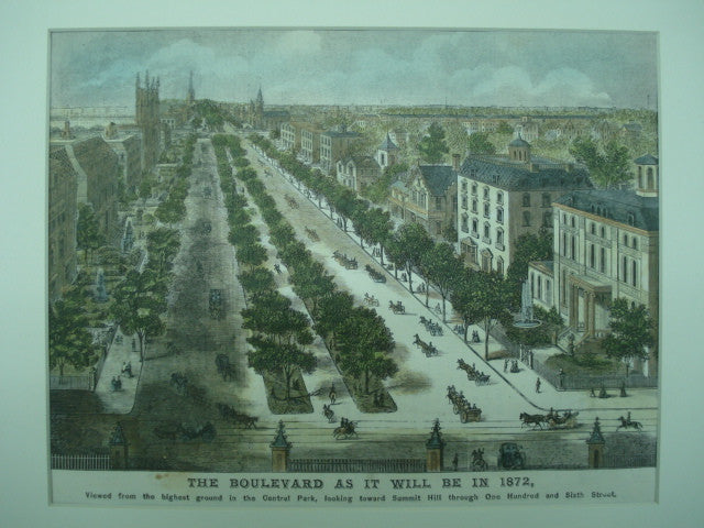 One Hundred and Sixth Street as it will be in 1872, as viewed from the highest ground in Central Park , New York, NY, 1871, Unknown