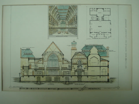 Design for the Fraser Institute , Montreal, CAN, 1876, D. E. Supplee