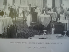 Dining Room of the Hotel Walton , Philadelphia, PA, 1905, Angus S. Wade
