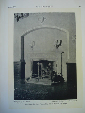 Board Room Fireplace in the Teaneck High , Teaneck, NJ, 1930, Hacker and Hacker