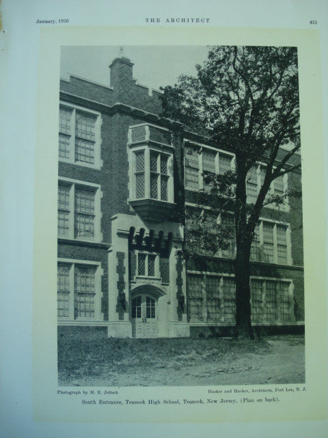 South Entrance of the Teaneck High School, Teaneck, NJ, 1930, Hacker and Hacker