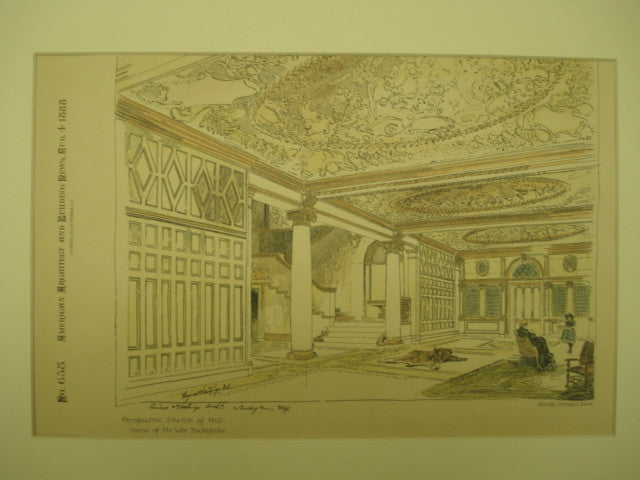 Perspective Sketch of the Hall in the House of Mr. Wm. Rockefeller , New York, NY, 1888, Carrere and Hastings