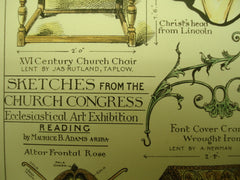 Sketches from the Church Congress Ecclesiastical Art Exhibition, 1883, Maurice B. Adams