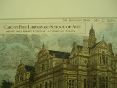Alternative Design for the Cardiff Free Library and School of Art , Cardiff, Wales, UK, 1880, James Seward & Thomas