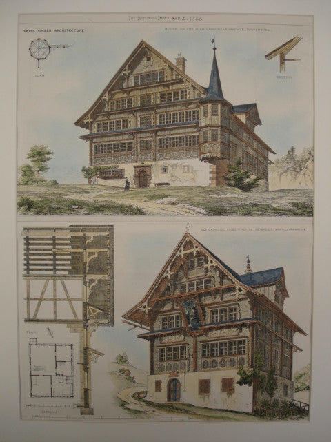Two Example of Swiss Timber Architecture , Toggenburg, Switzerland, EUR, 1883, Unknown