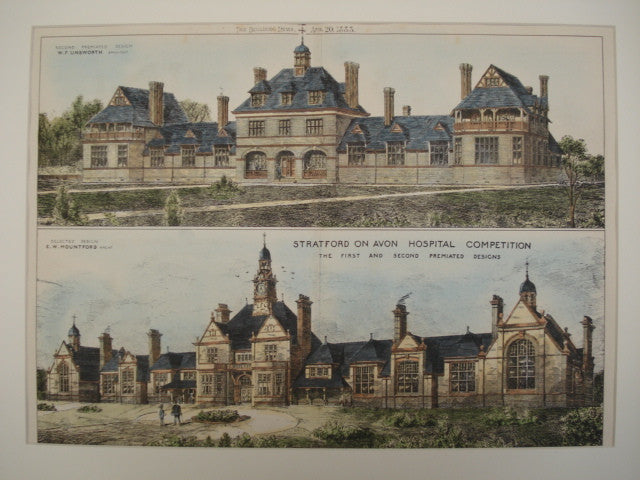 First and Second Premiated Designs for New Hospital, Stratford on Avon, Warwickshire, England, UK, 1883, W. F. Unsworth