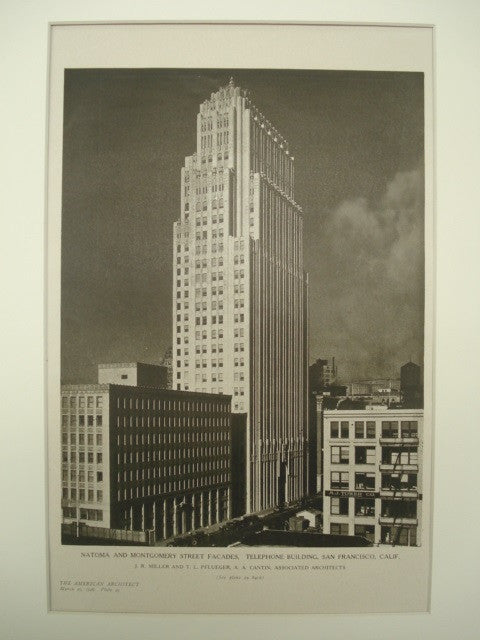 Natoma and Montgomery Street Facades of the Telephone Building , San Francisco, CA, 1926, J. R. Miller, T. L. Pflueger and A. A. Cantin