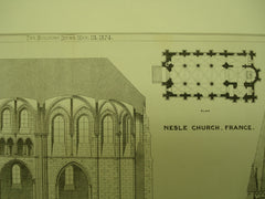 Nesle Church, France, EUR, 1874, Unknown