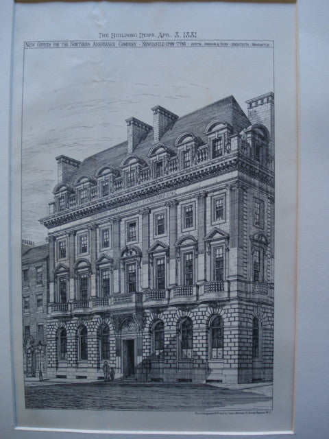 New Offices for the Northern Assurance Company , Newcastle-Upon-Tyne, England, UK, 1881, Austin, Johnson & Hicks