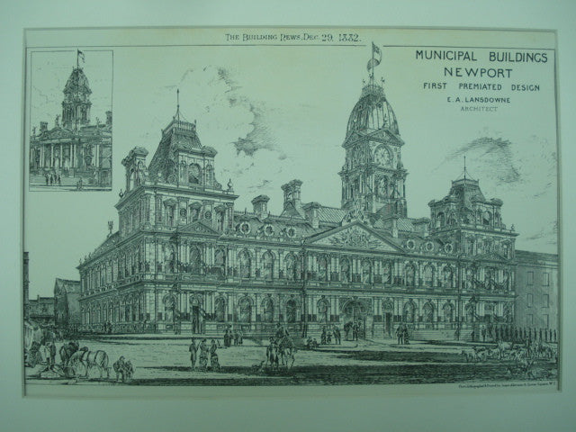 First Premiated Design of the Municipal Buildings , Newport, Wales, UK, 1882, E. A. Lansdowne