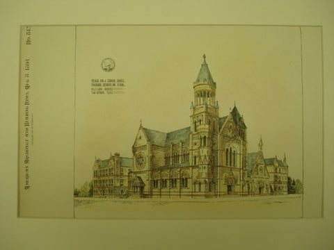 Design for a Church, Chapel, Parochial Residence and School , San Antonio, TX, 1891, D. C. E. Laub