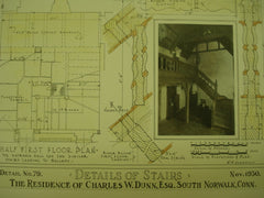 Details of Stairs at the Residence of Charles W. Dunn , South Norwalk, CT, 1930, W. M. Anderson