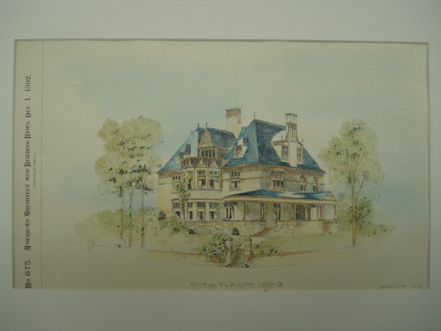 House for Mr. W. S. Guffey , Liberty, PA, 1892, Geo T. Pearson