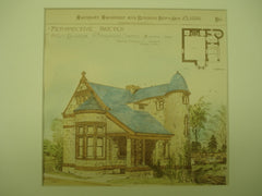 Perspective Sketch of the Office Building for Holyhood Cemetery , Brookline, MA, 1886, Thomas O'Grady, Jr.