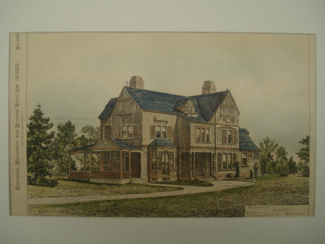 Residence of Mr. G. A. Hull , Newton, MA, 1883, Bruce Price & Geo. A. Freeman