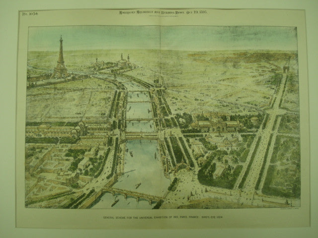 Bird's Eye View of the General Scheme for the Universal Exhibition of 1900 in Paris, France, Paris, France, EUR, 1895, Unknown