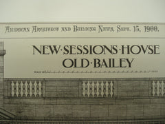 Design for the New Sessions Hous, Old Bailey, Wales, UK, 1900, E. W. Mountford