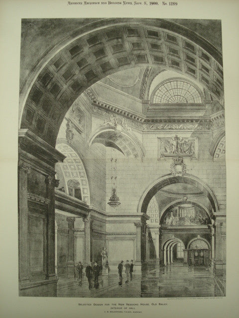 Design for the Interior of the Hall at the New Sessions House , Old Bailey, Wales, UK, 1900, E. W. Mountford