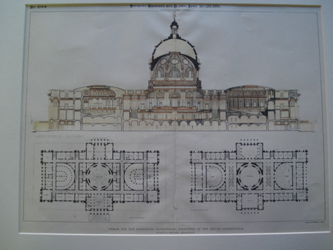 Design for the Minnesota State house, Submitted in the Second Competition , St. Paul, MN, 1895, Wyatt & Nolting