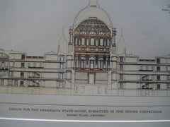 Design for the Minnesota State-House, Submitted in the Second Competition , St. Paul, MN, 1895, Ernest Flagg