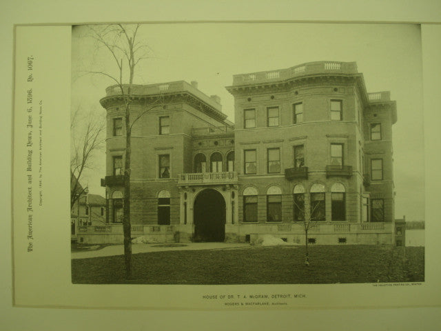 House of Dr. T. A. McGraw , Detroit, MI, 1896, Rogers & MacFarlane