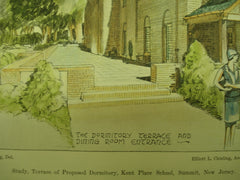 Terrace of the Proposed Dormitory of the Kent Place School , Summit, NJ, 1930, Elliot L. Chisling
