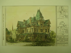 Design of the Residence for Geo. Van Vleck , Buffalo, NY, 1879, M. E. Beebe