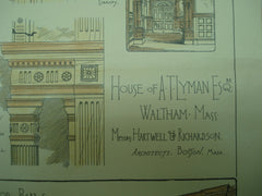 House of A. T. Lyman, Esq., Waltham, MA, 1883, Messrs. Hartwell & Richardson