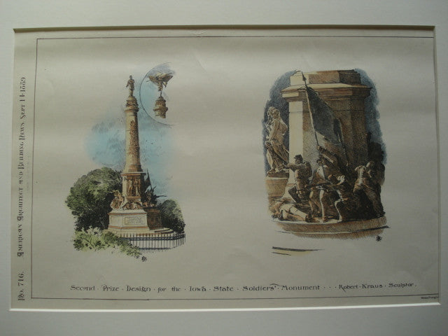 Second Prize Design for the Iowa State Soldiers' Monument , IA, 1889, Robert Kraus, Sculptor