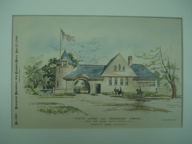 Gate Lodge and Hamersley Library , Bath Beach, NY, 1892, Parfitt Bros