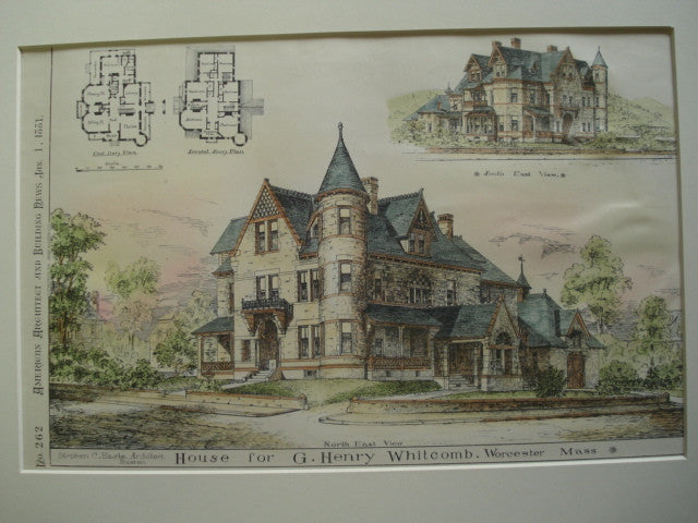 House for G. Henry Whitcomb , Worcester, MA, 1881, Stephen C. Earle