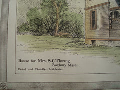 House for Mrs. S.C. Thwing , Roxbury, MA, 1881, Cabot and Chandler