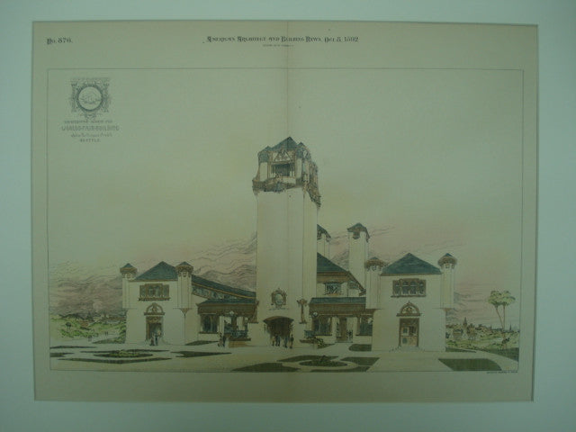 Competitive Design for the State of Washington's World's Fair Building , Seattle, WA, 1892, John Parkinson