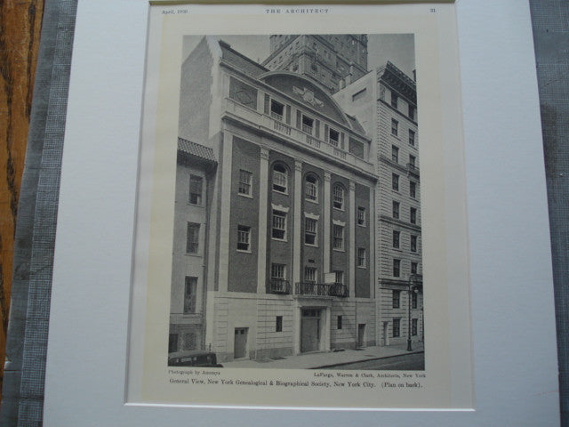 General View of the New York Genealogical & Biographical Society, New York , NY, 1930, LaFarge, Warren & Clark