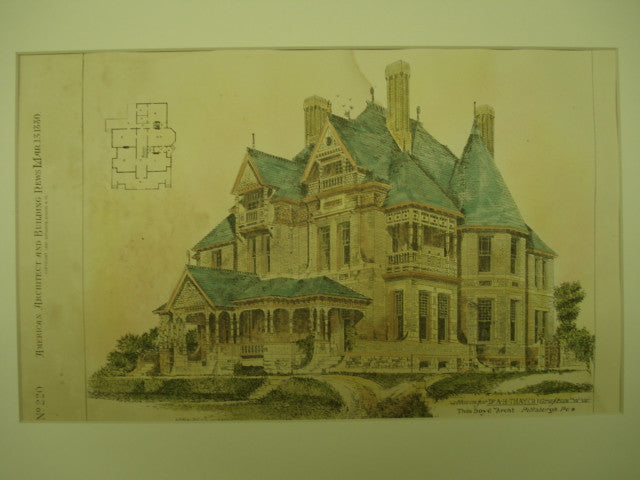 House for Dr. A. H. Thayer , Grafton, WV, 1880, Thos. Boyd