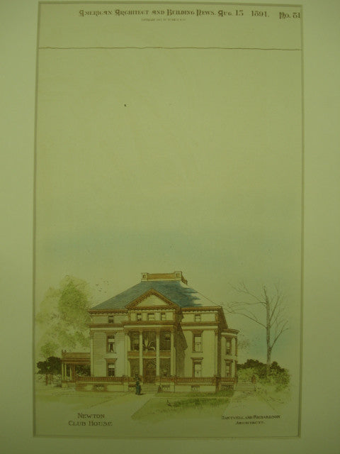 Newton Club House , Newton, MA, 1891, Hartwell and Richardson