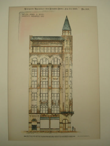 Sketch of the Office Building for Messrs. Richter, Schubert & Dick , Milwaukee, WI, 1891, Van Ryn, Andre & Lesser