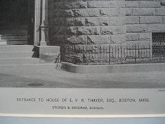 Entrance to the House of E.V.R. Thayer, Esq., Boston, MA, 1890, Sturgis & Brigham