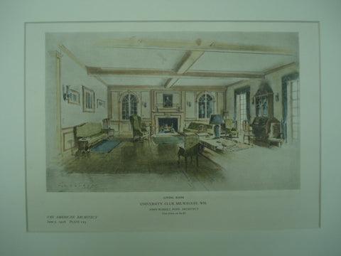 Living Room of the University Club , Milwaukee, WI, 1926, John Russell Pope