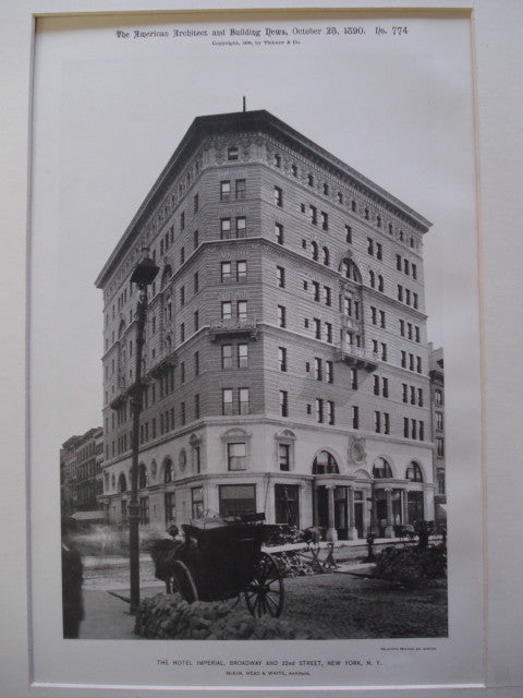 Hotel Imperial, Broadway and 32nd Street, New York, NY, 1890, McKim, Mead & White