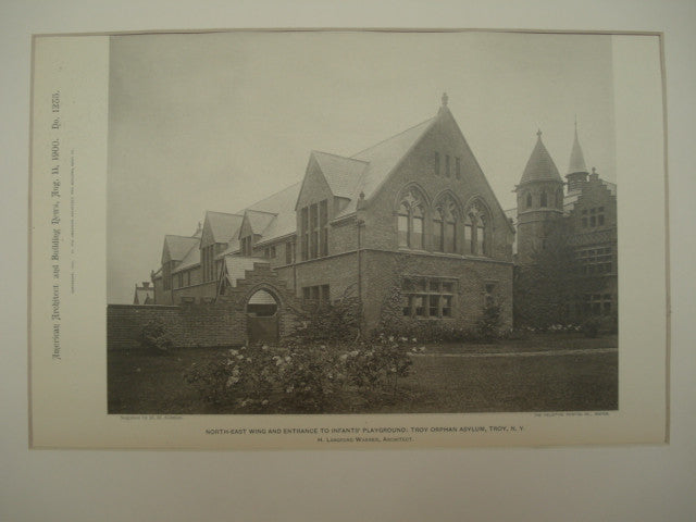 North-East Wing and Entrance to the Infants' Playground at the Troy Orphan Asylum , Troy, NY, 1900, H. Langford Warren