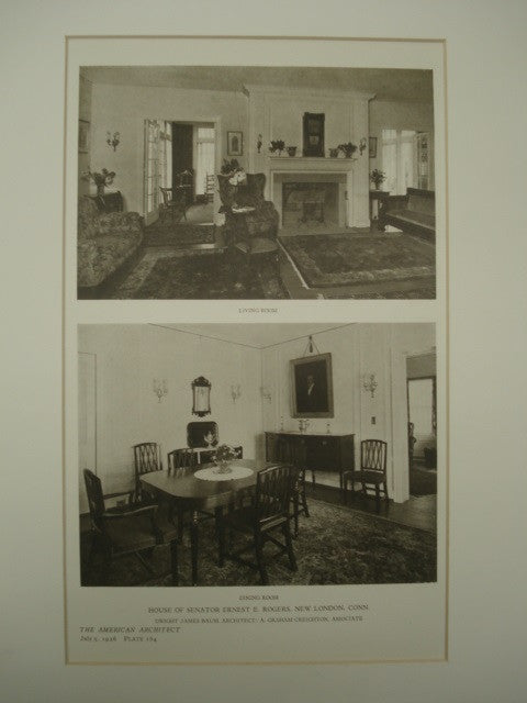 Living Room and Dining Room in the House of Senator Ernest E. Rogers , New London, CT, 1926, James Baum & A. Graham Creighton