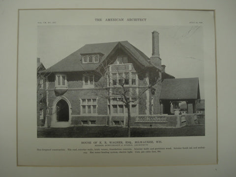 House of E. R. Wagner, Esq. , Milwaukee, WI, 1916, Schuchardt & Judell