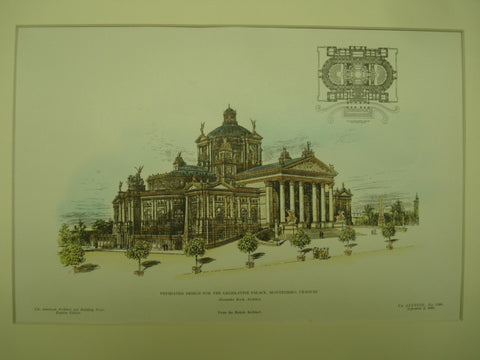 Premiated Design for the Legislative Palace , Montevideo, Uraguay, LAM, 1905, Alexander Koch
