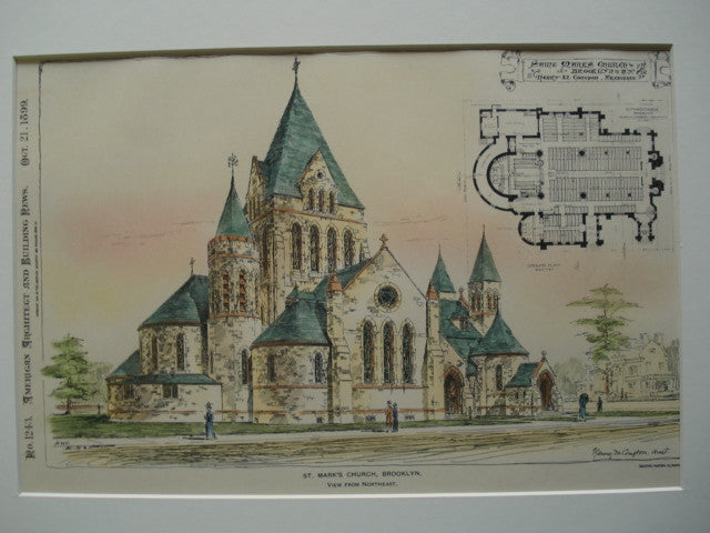St. Mark's Church, view from the Northeast, Brooklyn, NY, 1899, Henry M. Congdon
