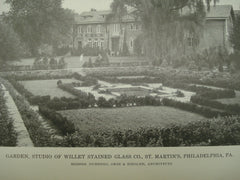 Garden at the Studio of the Willet Stained Glass Co., Philadelphia, PA, 1916, Duhring, Okie & Ziegler