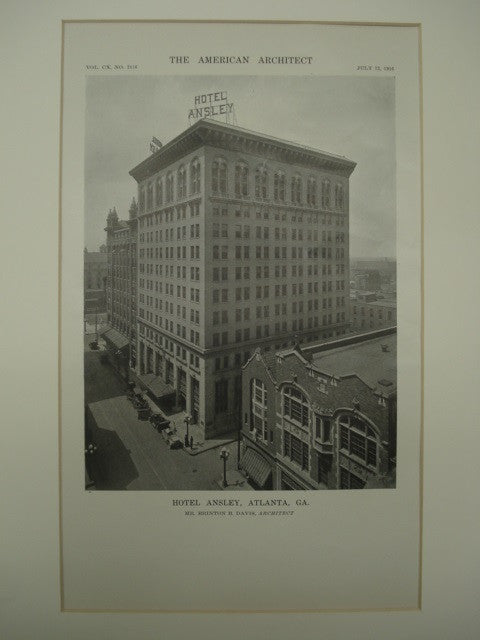 Exterior of the Hotel Ansley , Atlanta, GA, 1916, Brinton B. Davis