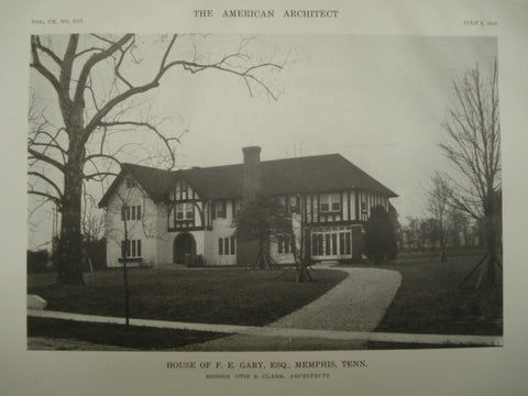 House of F. E. Gary, Esq., Memphis, TN, 1916, Otis & Clark