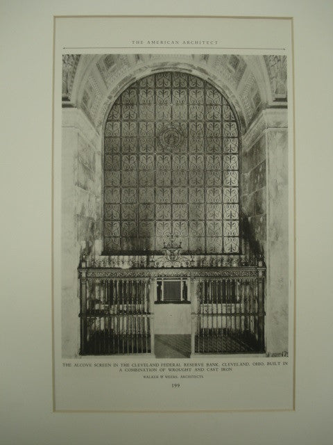 Alcove Screen in the Cleveland Federal Reserve Bank , Cleveland, OH, 1926, Walker & Weeks